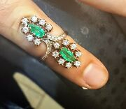 Vintage 14k Yellow Gold Ring 4.10ct. Natural Green Emerald Pear Shape