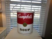 Huge Vintage Campbell's Soup Can Insulated Cooler Round Vinyl Zipper Top Handle