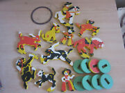 Vintage / Antique Wood Rodeo Childs Toy Playset, Figures, Horses Cowboys