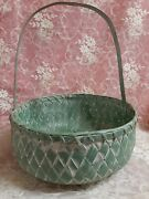 Vintage Woven Rattan/wicker Shabby Chic Easter-gathering Basket-ex/condition