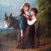 Georgian Period Oil Painting Mother Helping Child On Donkey