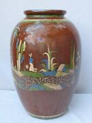 Antique Mexican Tlaquepaque Large 24 Pottery Vase Exceptional And Rare