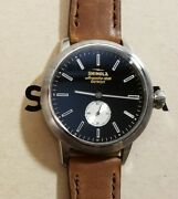 Shinola Bedrock Watch With 42mm Black Face And Brown Leather Band