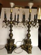 """2 Vtg Bronze Gold 3 Nude Angels 4 Arms Candelabra Table Electric Lamps Body 30"""""""