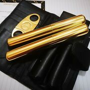 24ct Gold Plated Cohiba Cigar Cutter 2 Tubes Genuine Leather Wallet Carry Case