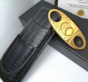 Black Genuine Leather 2 Cohiba Cigar Holder 24ct Gold Plated Cohiba Cutter Boxed