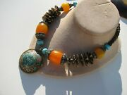 Vintage Tibetan Turquoise Coral Inlay Moroccan Egg Yolk Amber Beads Necklace