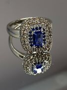 Effy 14k White Gold Light Blue Sapphire And Champagne Diamond Bh Ring. New. Bh.