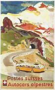 Original Vintage Poster Swiss Coach Tours To The Alps 1951
