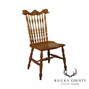 Antique Victorian Oak Turned Spindle Side Chair With Curved Dolphins