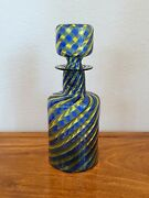 Barovier And Toso Mid-century Murano Glass Blue Art Decanter Bottle Stopper Italy