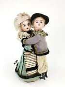 Antique Wind Up French Bisque Head Dancing Dolls Ca1910