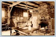 Vintage Rppc Interior Of Cabin Fireplace Lamps Vermont Map On Wall B4