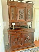 Antique 19th Century Oak Buffet And Hutch French Renaissance Henry Ii 7.3 Ft Tall