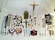 Vintage Religious Lot Medals Rosaries Crosses And More Catholic Christianity