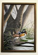 African American Ms Artist Jerrie Glasper Oil On Canvas Painting Wood Duck Pair