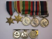 Original Wwii 1939-1945 Miniature Bar Grouping Raf Personnel Medals.
