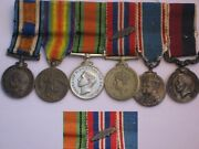 Original Wwi-wwii Miniature Bar Grouping Raf Personnel Medals.