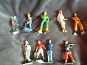 Vintage Lead Figures Lot Of 9 Barclay 2 Skaters, Farmers Made In England, Misc