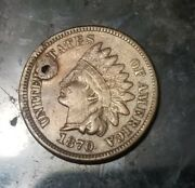 1870 Indian Head Cent Penny -- Make Us An Offer Holed