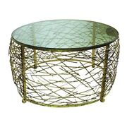 Round Abstract Gold Iron Twig Coffee Table Open Modern Drum Cage