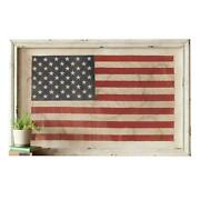 Patriotic Large 48 Inch Rustic White Framed American Flag Under Glass Fabric