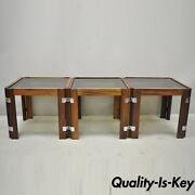 3 Mid Century Danish Modern Rosewood And Smoked Glass Side Tables By Interior Form