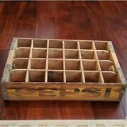 Antique Pepsi Bottle Wooden Crate - Great Patina Original Paint Use For Display