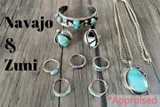 Vintage 70and039s Sterling Silver Navajo Zuni Native Handmade Jewelry Lot