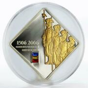 Cook Island 5 Dollars Four Swiss Guards Gilded Crystals Proof Silver Coin 2006