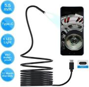 16.5' Borescope For Usb C Android, Rigid Snake Inspection Camera W 6 Led Lights