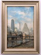 Antique Listed Artist Leon Louis Dolice Painting Oil On Wood New York