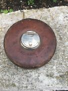 Vtg Lufkin Rule Co 75ft Reliable Steel Tape Leather Cover Round Tape Measure Usa