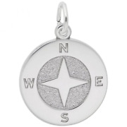 Compass Charm Sterling Silver Arts, Music And Entertainment Style 1693 Rembran