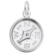 Compass With Needle Charm Sterling Silver Arts, Music And Entertainment Style 8