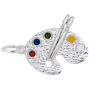 Artist Palette Charm Sterling Silver Arts, Music And Entertainment Style 8272