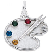 Artist Palette With Stones Charm Sterling Silver Arts, Music And Entertainment