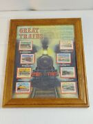 Vtg Authentic Great Trains World Of Stamps Collectible Series Framed Home Art