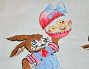 Daddy Bunny And Boy Bunny W/ Easter Egg Surprise Vintage German Tablecloth Best