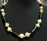 Vintage Hawaiian Black Coral Branch And Oyster Shell Beaded 21 1/2 Necklace