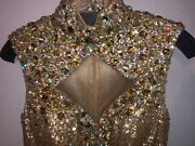 Jonathan Kayne Prom Dress Size 6 Sequin Gold Gown High Neck Great Gatsby Style