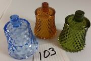 Votive Cups Lot Of 3 Homco Home Interior Amber Brown Forest Green Blue Glass