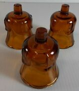 Votive Cups Set 3 Homco Home Interior Amber Brown Glass 3.5 Inch Candle Holders