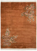 Rra 9x12 Chinese Art Deco Floral With Shadow Border Copper Rust Rug 18350