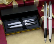 Cross Atx Fountain And Ballpoint Pen Set - Brushed Chrome