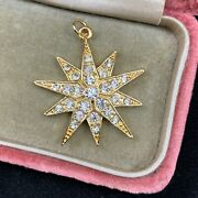 Antique Style Gold Tone Faux Diamond Star Pendant Or Charm Reproduction