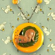 Wood And Bakelite Necklace Cat Playing With Yarn On Green And Yellow Bakelite Ooak