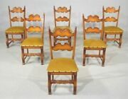 Set 6 Dining Room Guest Side Chairs Oak French Gothic