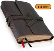 Leather Journal Lined Paper - Handmade Leather Bound Writing Notebook 6x8 In,