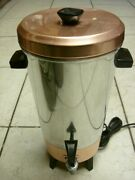 Vtg. 1950-60and039s Tricolator Copper/stainless 32 Cup Coffee Percolator Euc